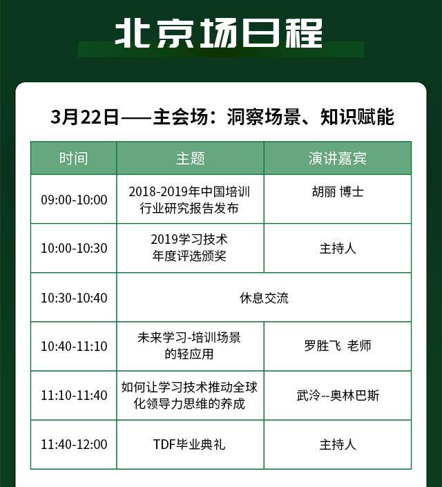北京场日程安排